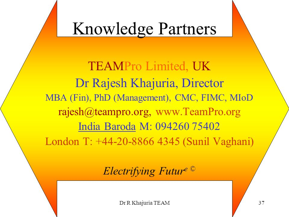 Knowledge Partners TEAMPro Limited, UK Dr Rajesh Khajuria, Director