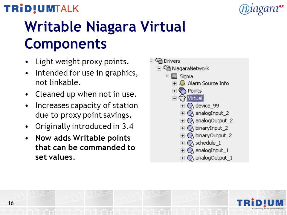 Writable Niagara Virtual Components