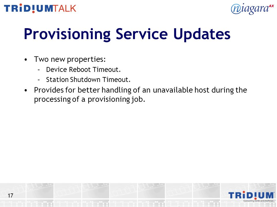 Provisioning Service Updates
