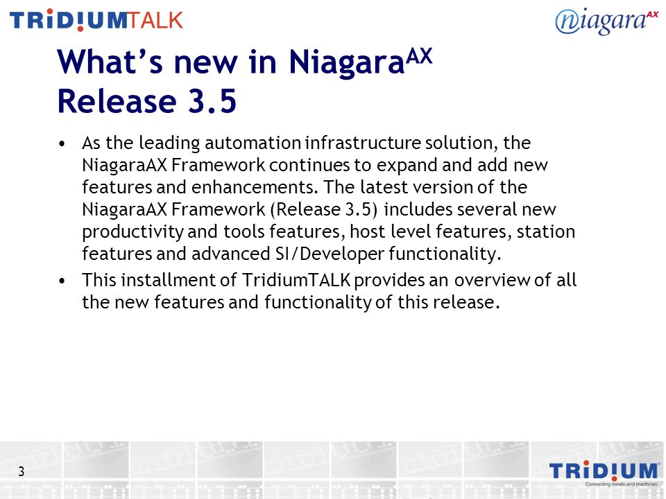 What's new in NiagaraAX Release 3.5