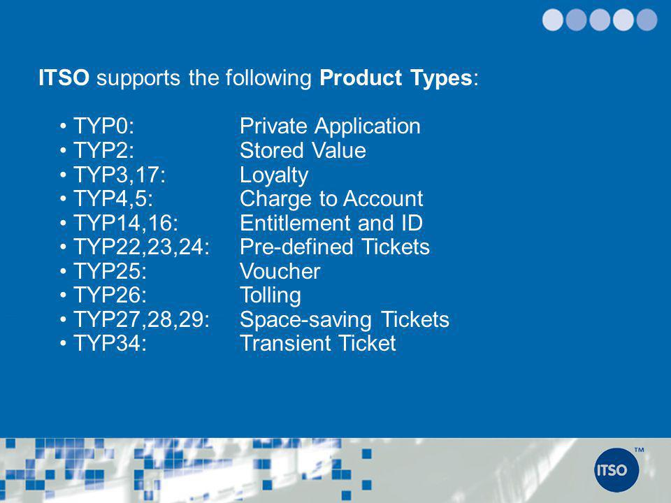 ITSO supports the following Product Types: