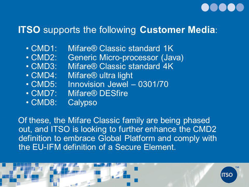 ITSO supports the following Customer Media: