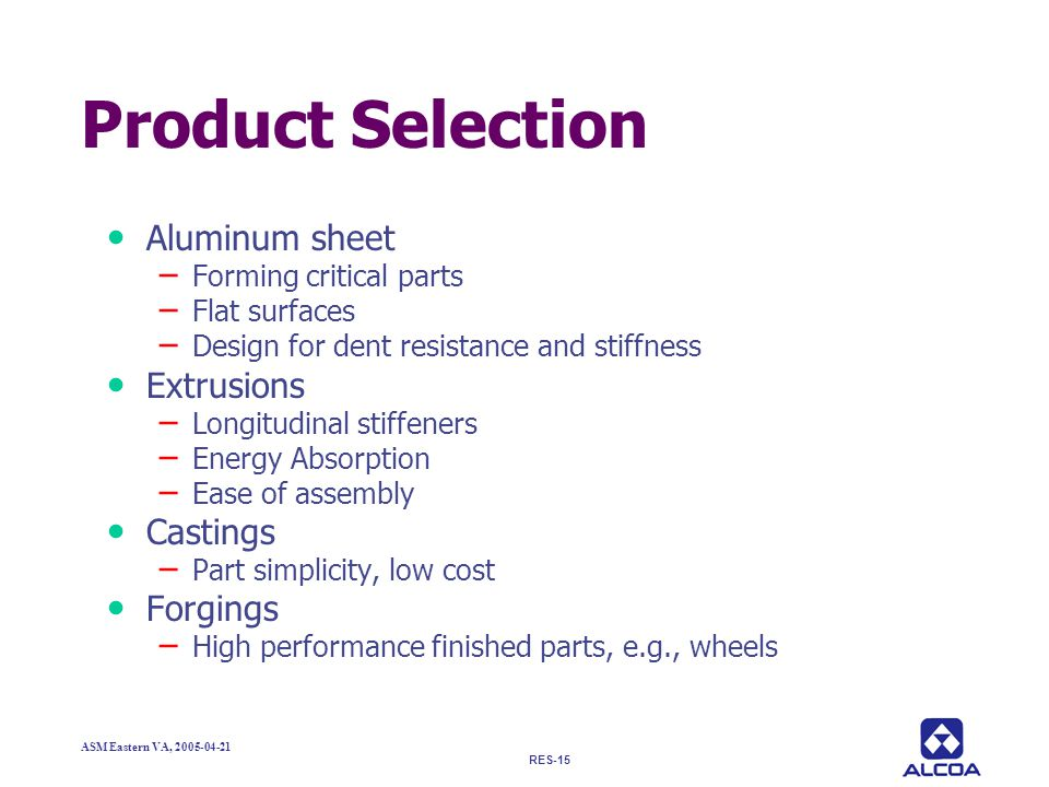 Product Selection Aluminum sheet Extrusions Castings Forgings