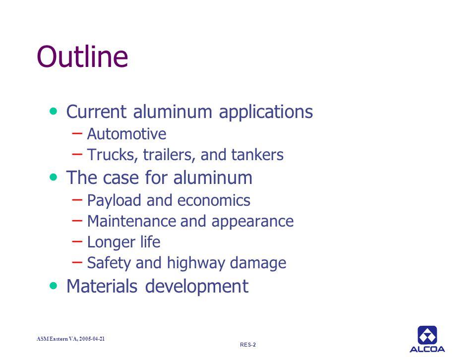 Outline Current aluminum applications The case for aluminum