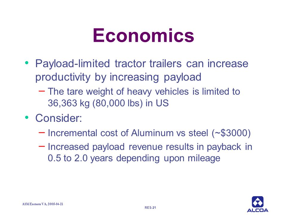 Economics Payload-limited tractor trailers can increase productivity by increasing payload.