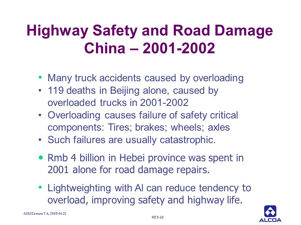 Highway Safety and Road Damage China – 2001-2002