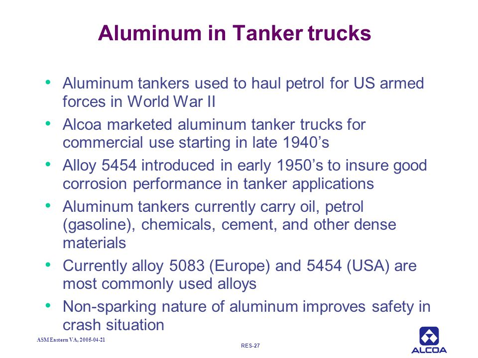 Aluminum in Tanker trucks