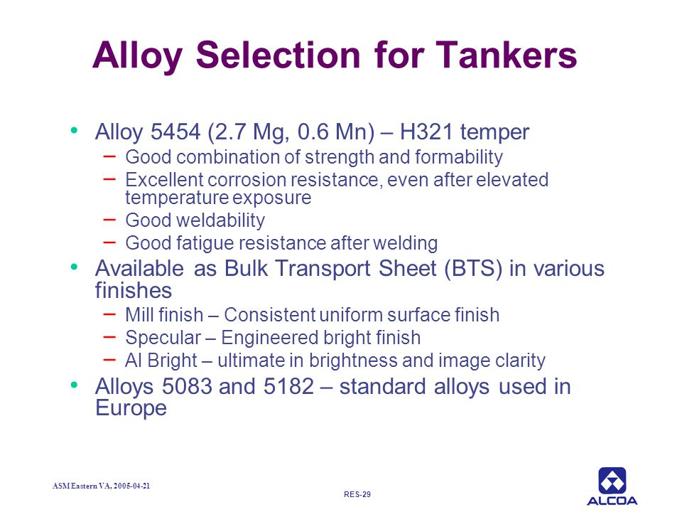 Alloy Selection for Tankers