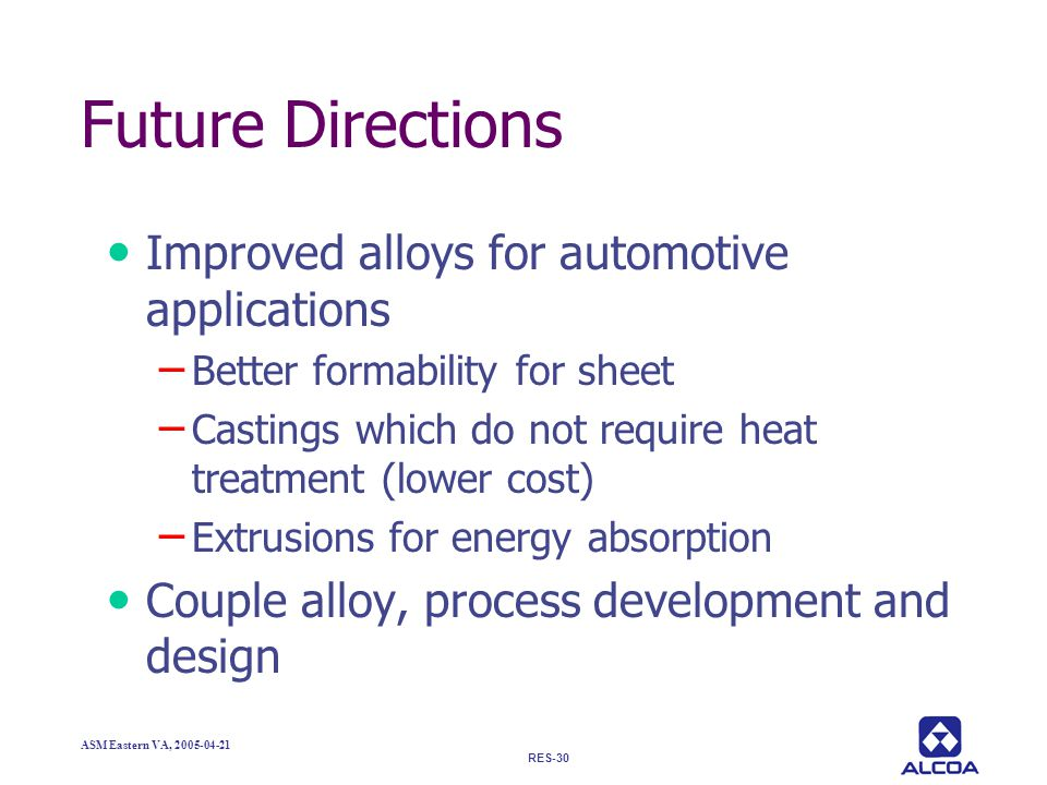 Future Directions Improved alloys for automotive applications