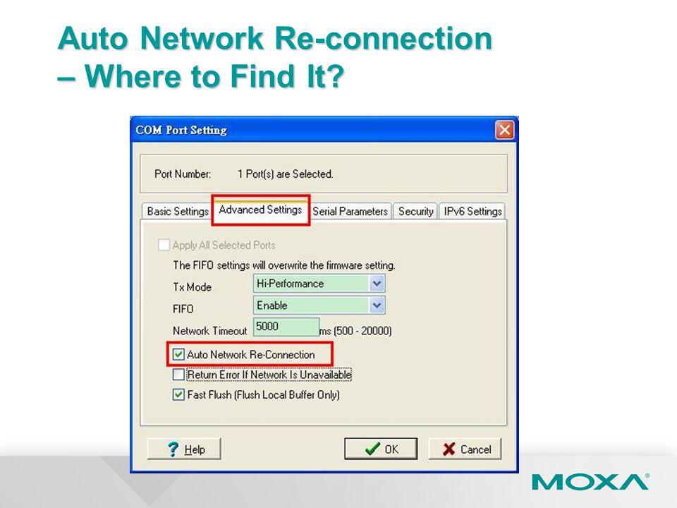Auto Network Re-connection – Where to Find It