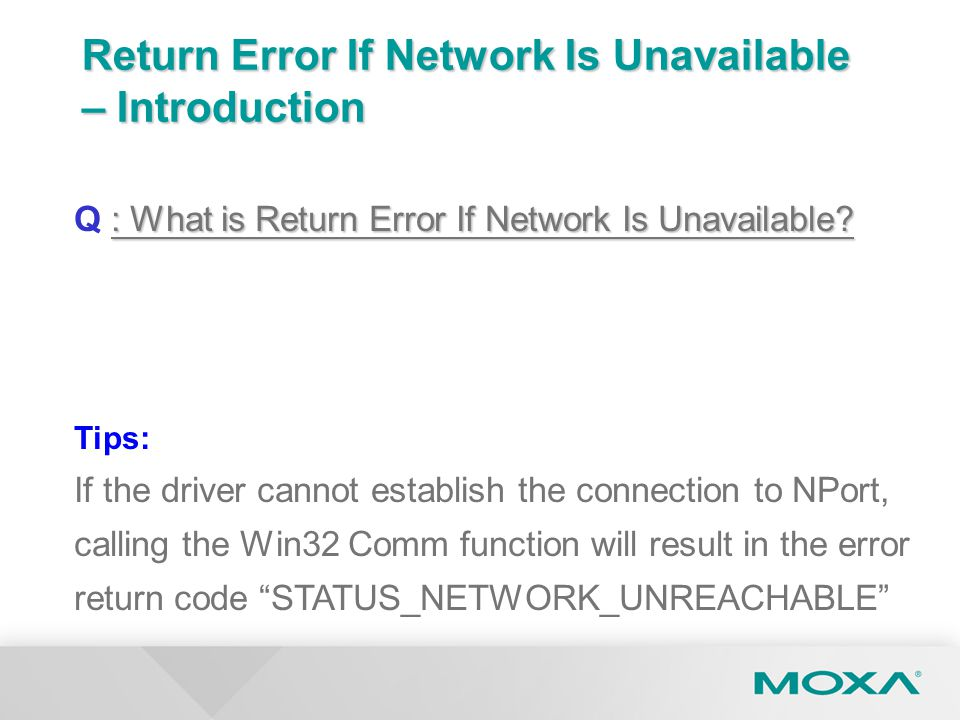 Return Error If Network Is Unavailable – Introduction