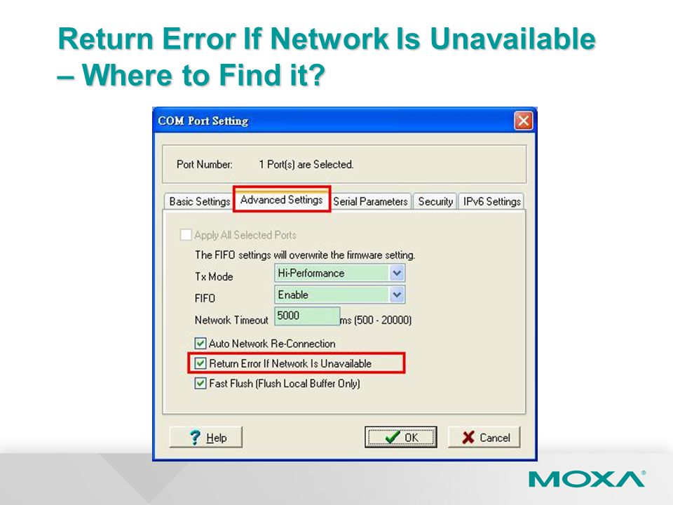 Return Error If Network Is Unavailable – Where to Find it