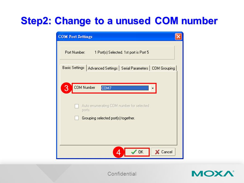 Step2: Change to a unused COM number