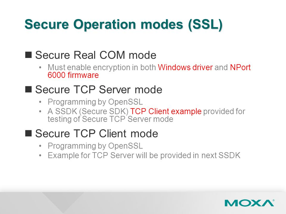Secure Operation modes (SSL)