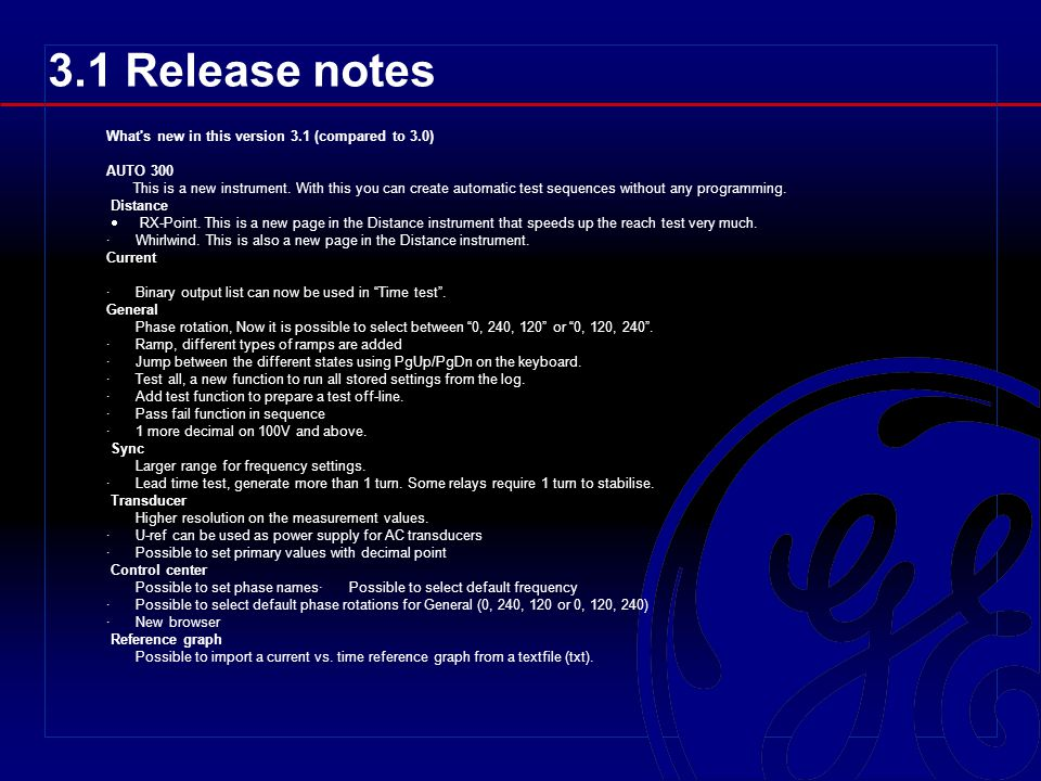 3.1 Release notes What s new in this version 3.1 (compared to 3.0)