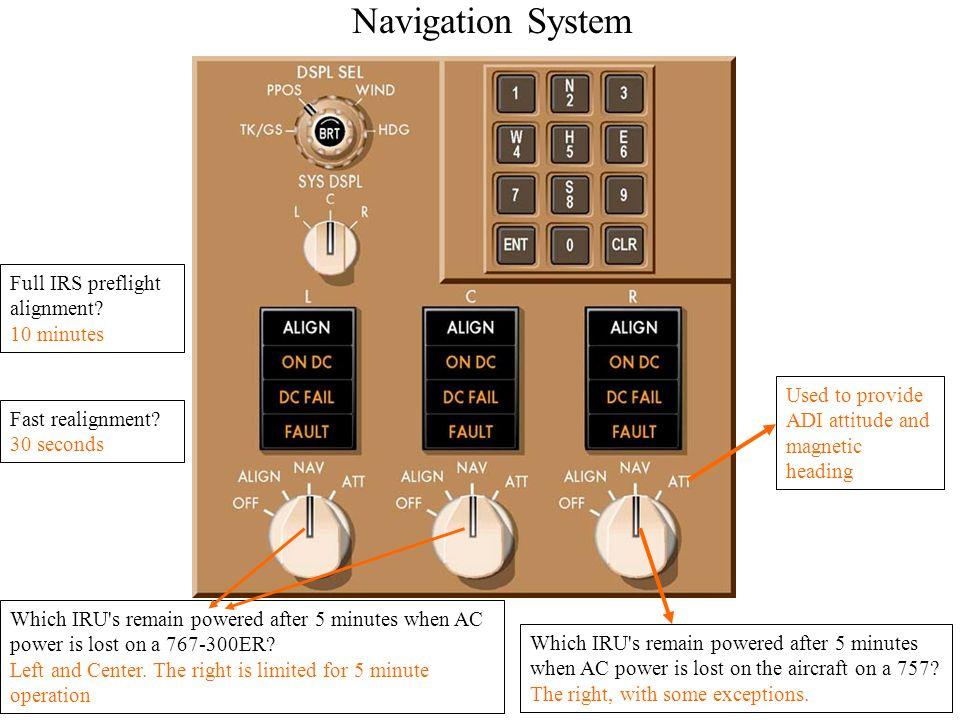 Navigation System Full IRS preflight alignment 10 minutes