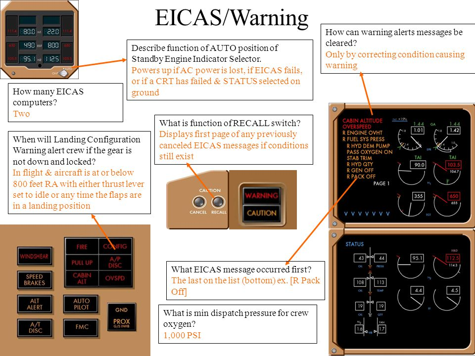EICAS/Warning How can warning alerts messages be cleared