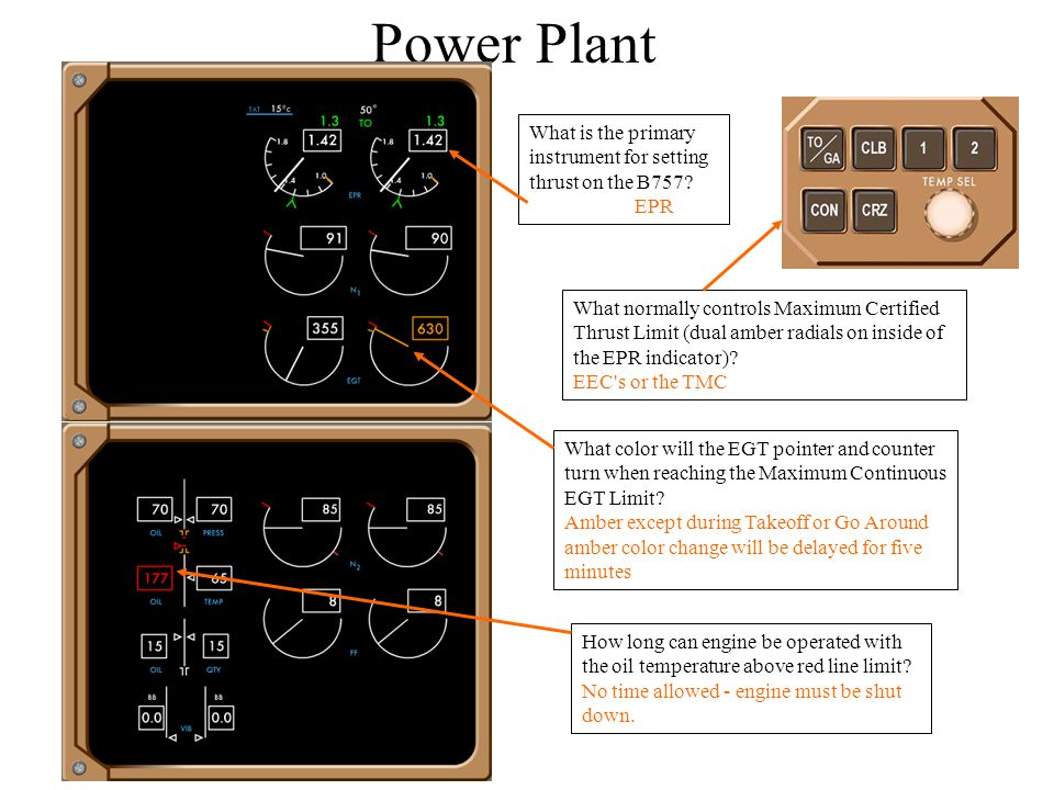 Power Plant What is the primary instrument for setting thrust on the B757 EPR.