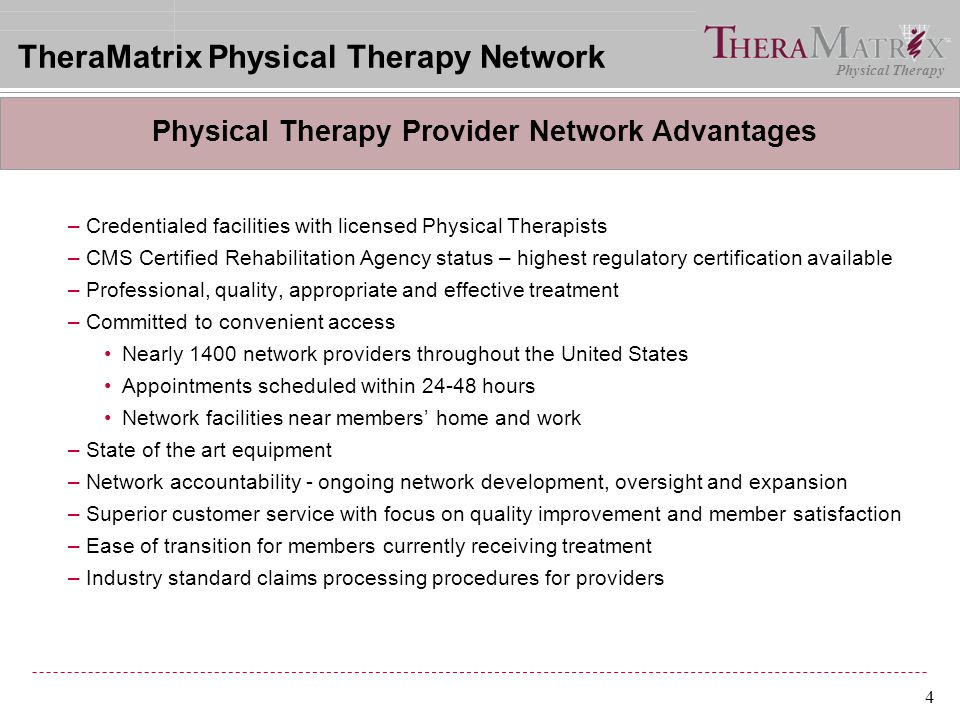 Physical Therapy Provider Network Advantages