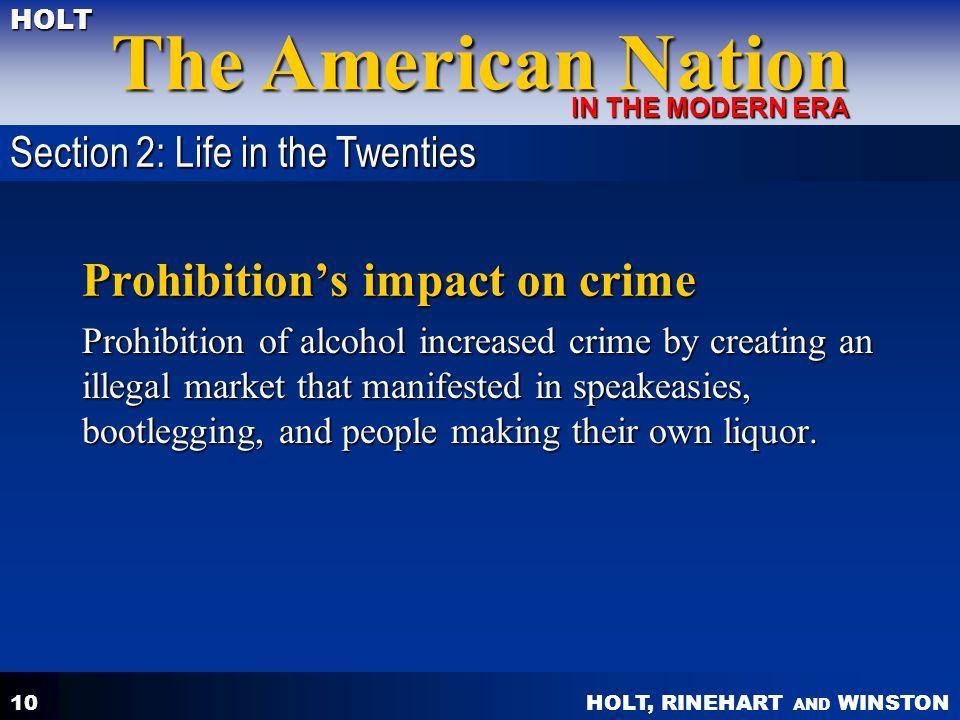 Prohibition's impact on crime