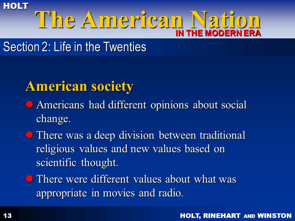 American society Section 2: Life in the Twenties