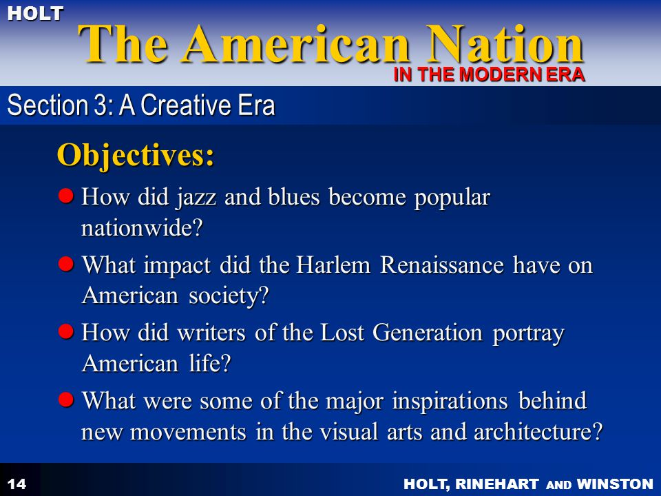 Objectives: Section 3: A Creative Era
