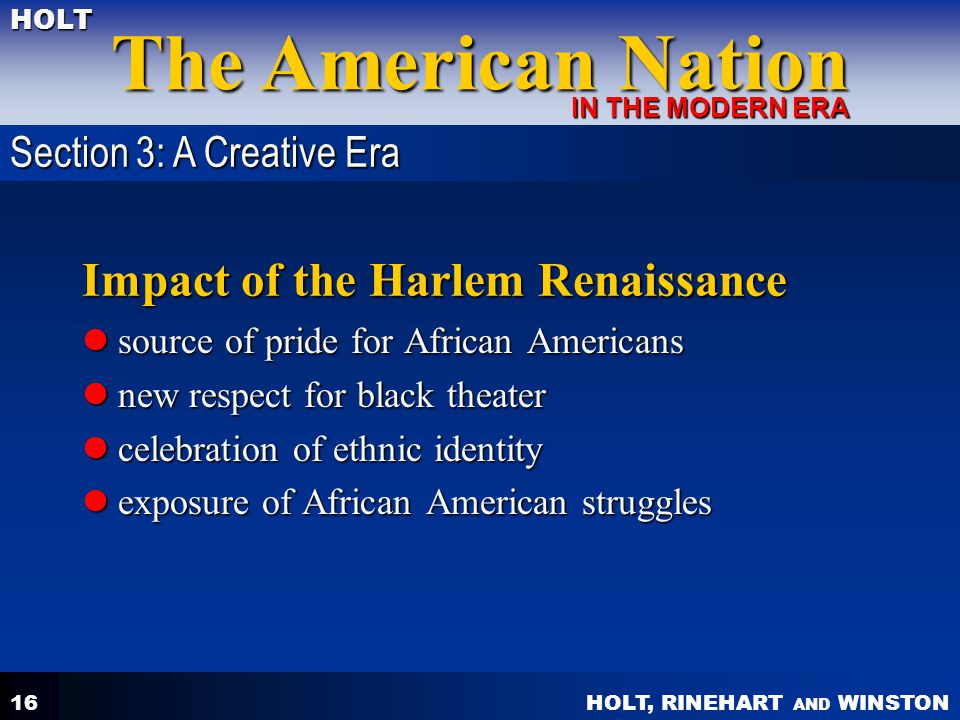Impact of the Harlem Renaissance
