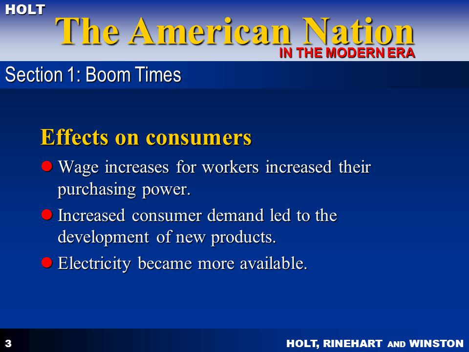 Effects on consumers Section 1: Boom Times