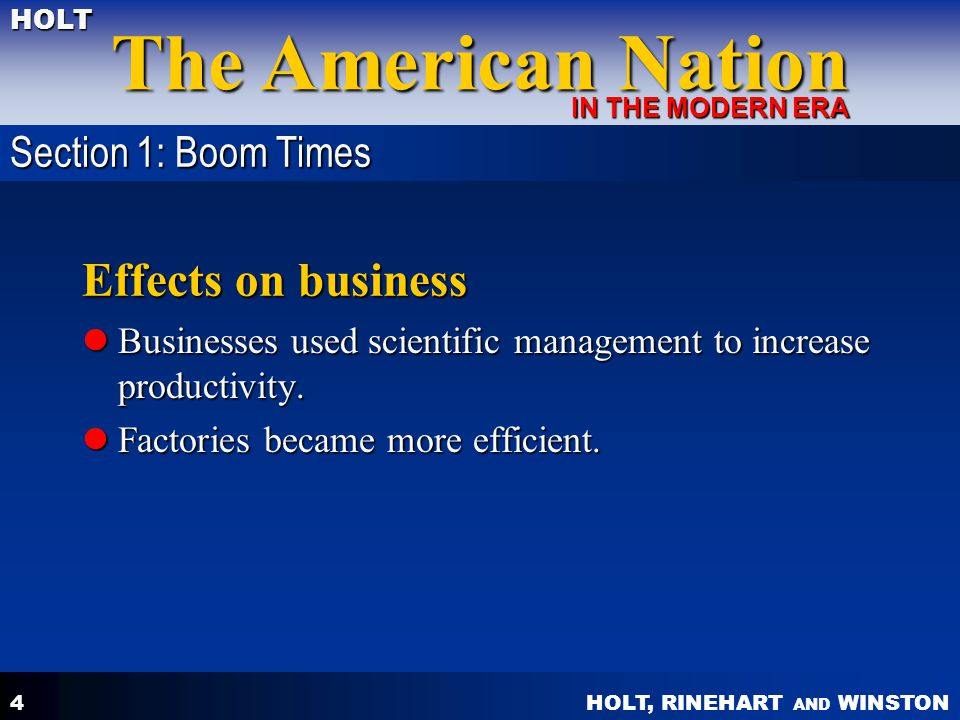 Effects on business Section 1: Boom Times