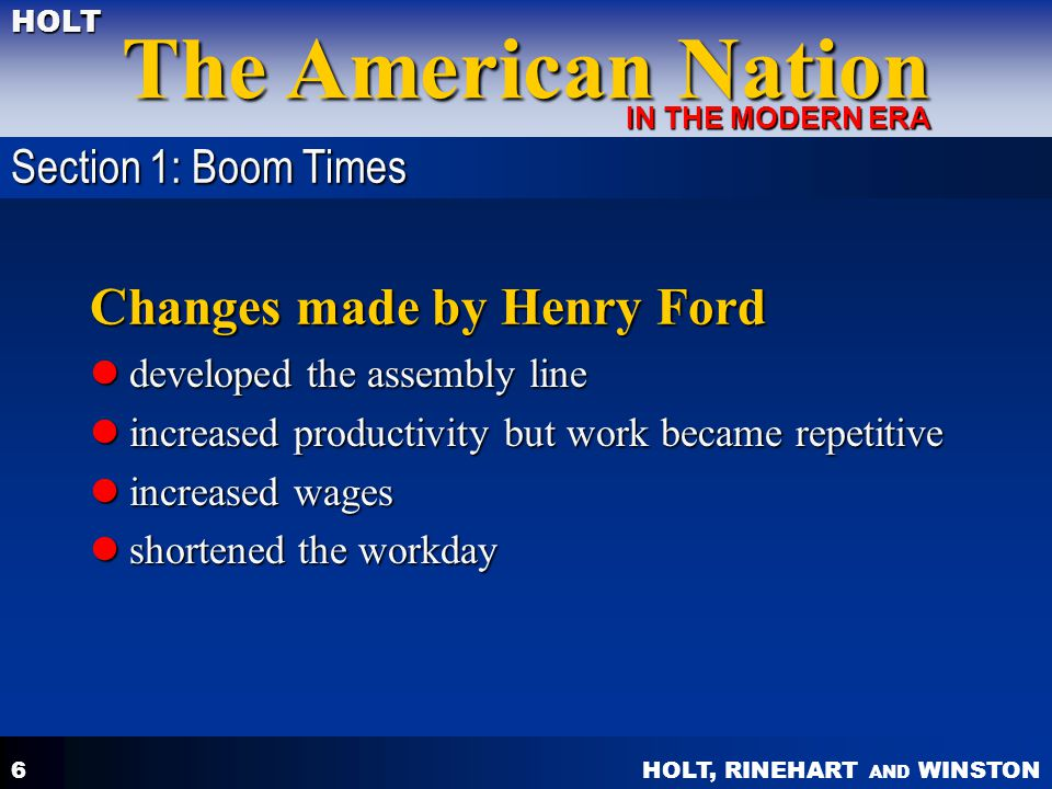 Changes made by Henry Ford