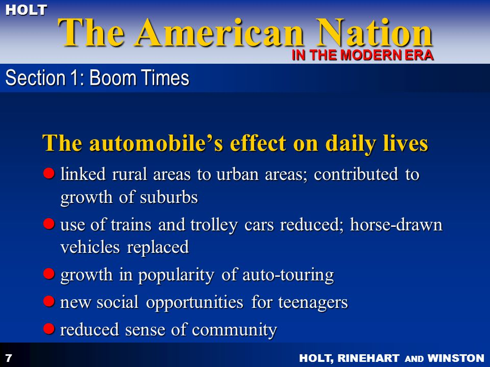 The automobile's effect on daily lives