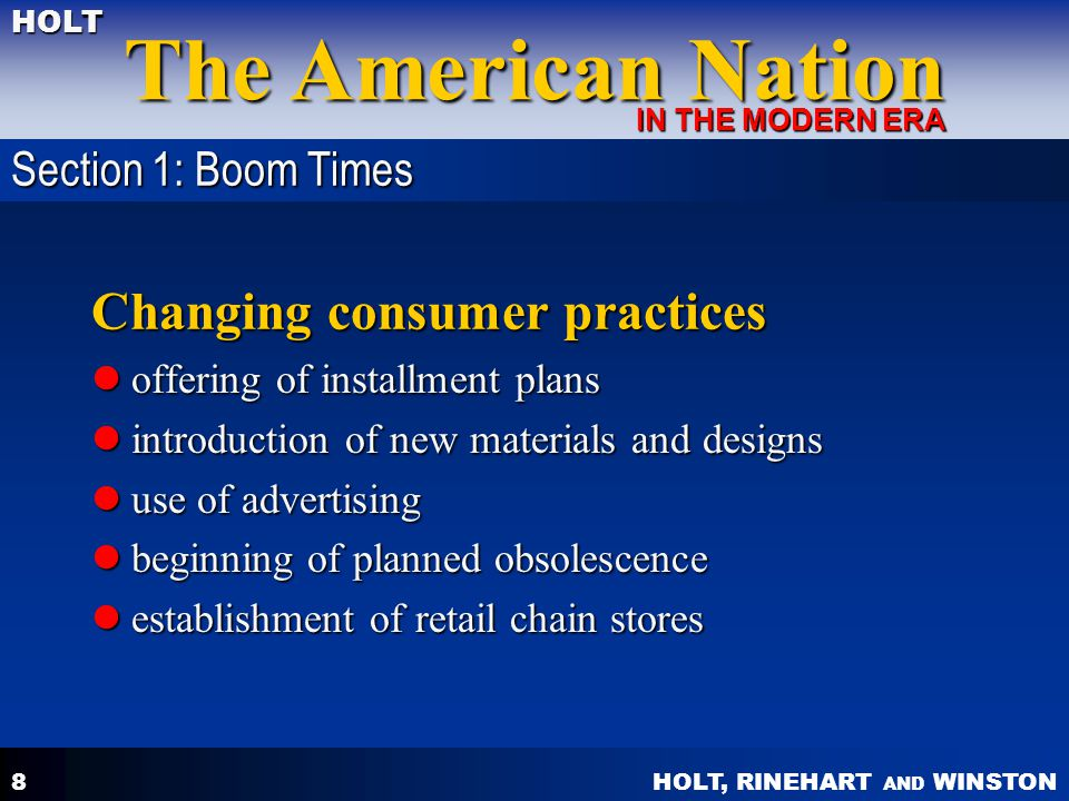 Changing consumer practices