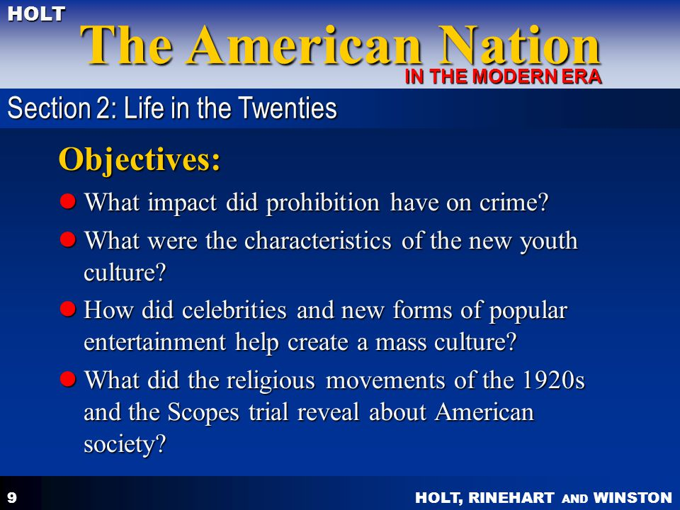 Objectives: Section 2: Life in the Twenties