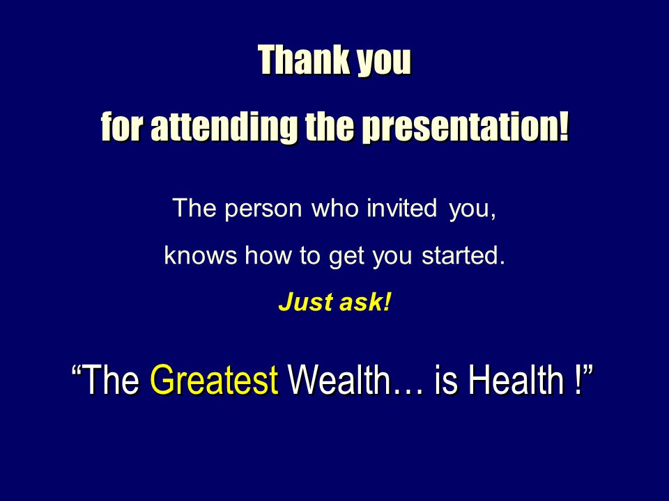 The Greatest Wealth… is Health !