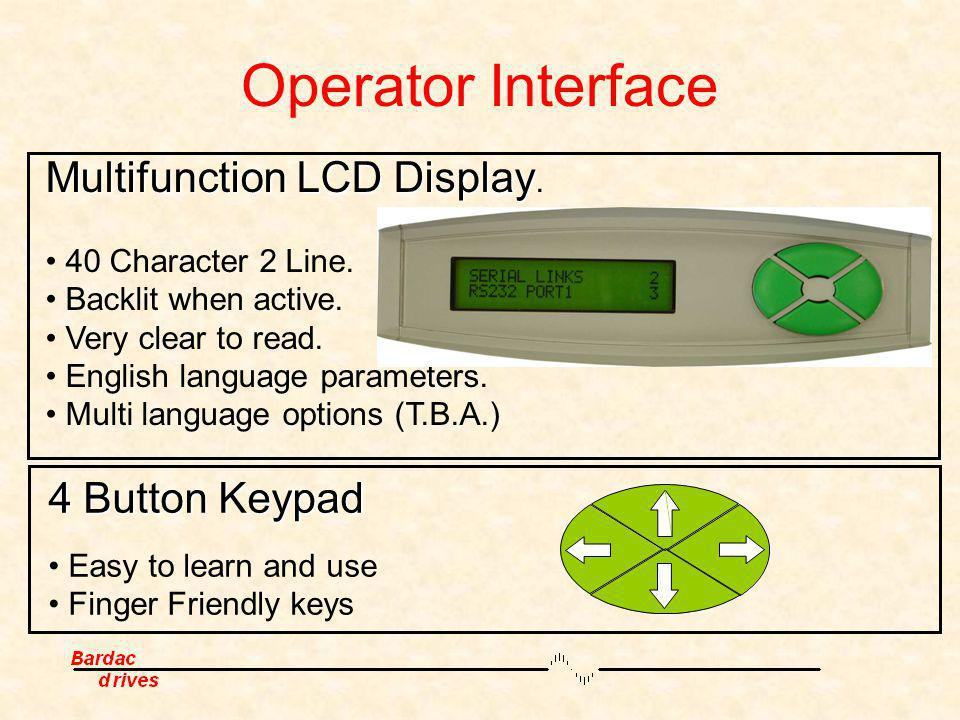 Operator Interface Multifunction LCD Display. 4 Button Keypad