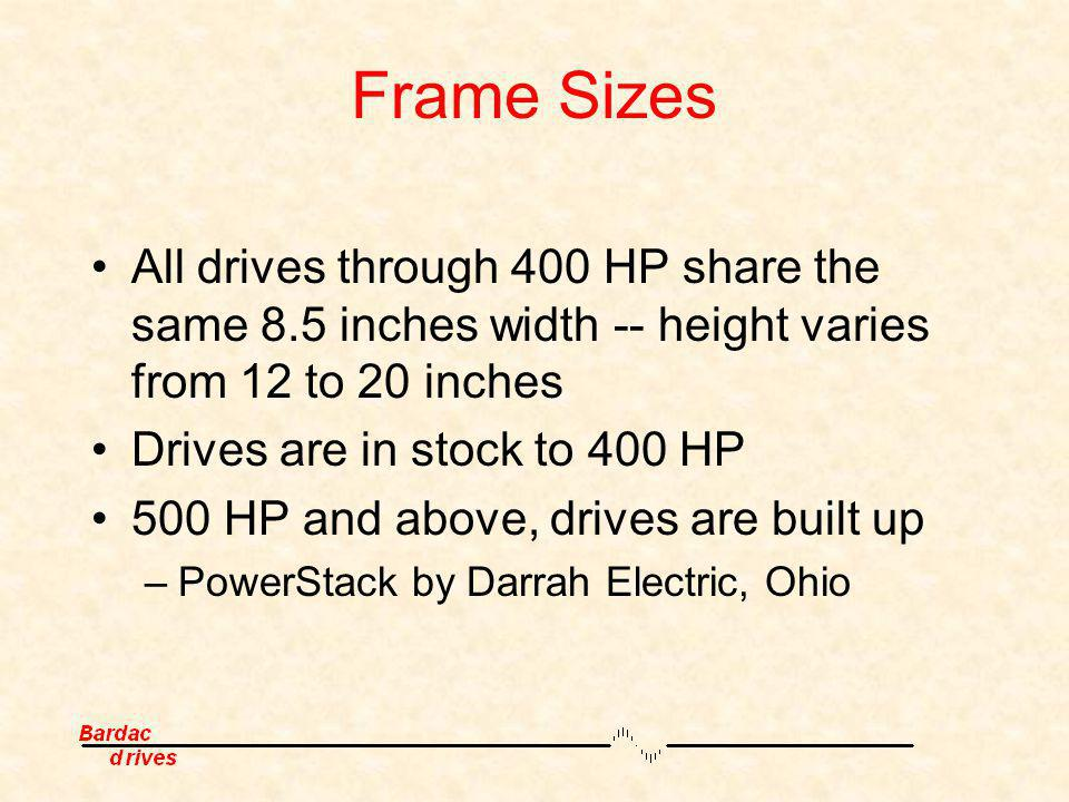 Frame Sizes All drives through 400 HP share the same 8.5 inches width -- height varies from 12 to 20 inches.