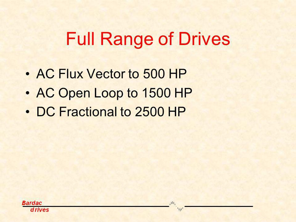 Full Range of Drives AC Flux Vector to 500 HP AC Open Loop to 1500 HP
