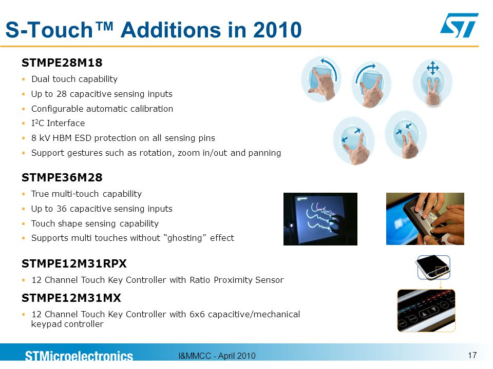 S-Touch™ Additions in 2010 STMPE28M18 STMPE36M28 STMPE12M31RPX