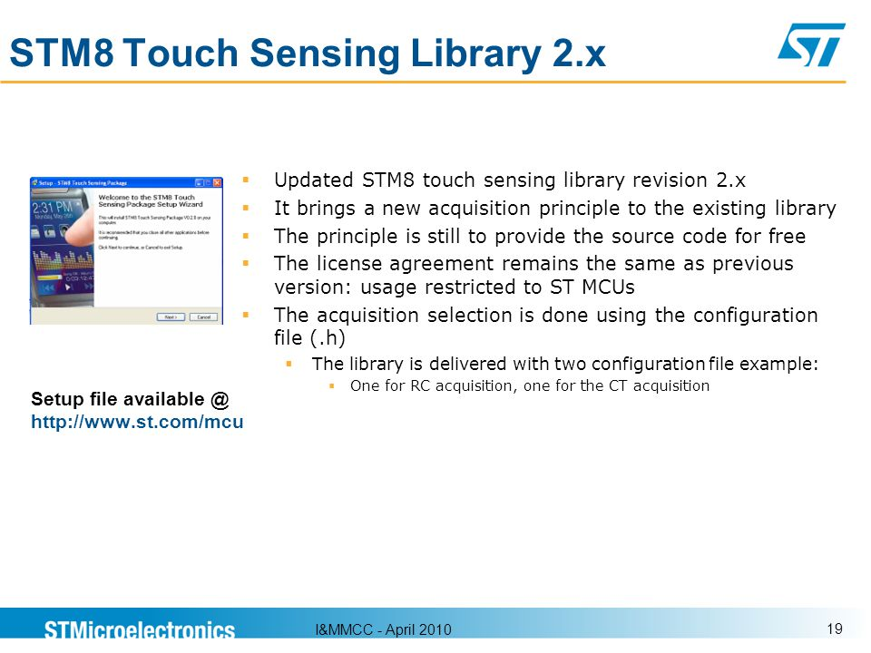 STM8 Touch Sensing Library 2.x
