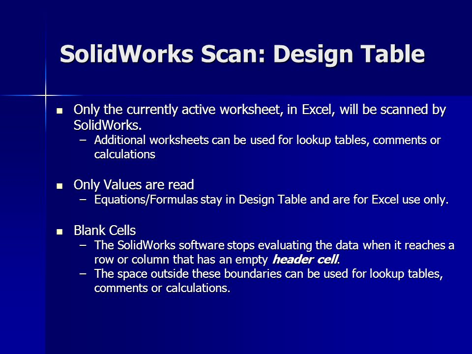 SolidWorks Scan: Design Table