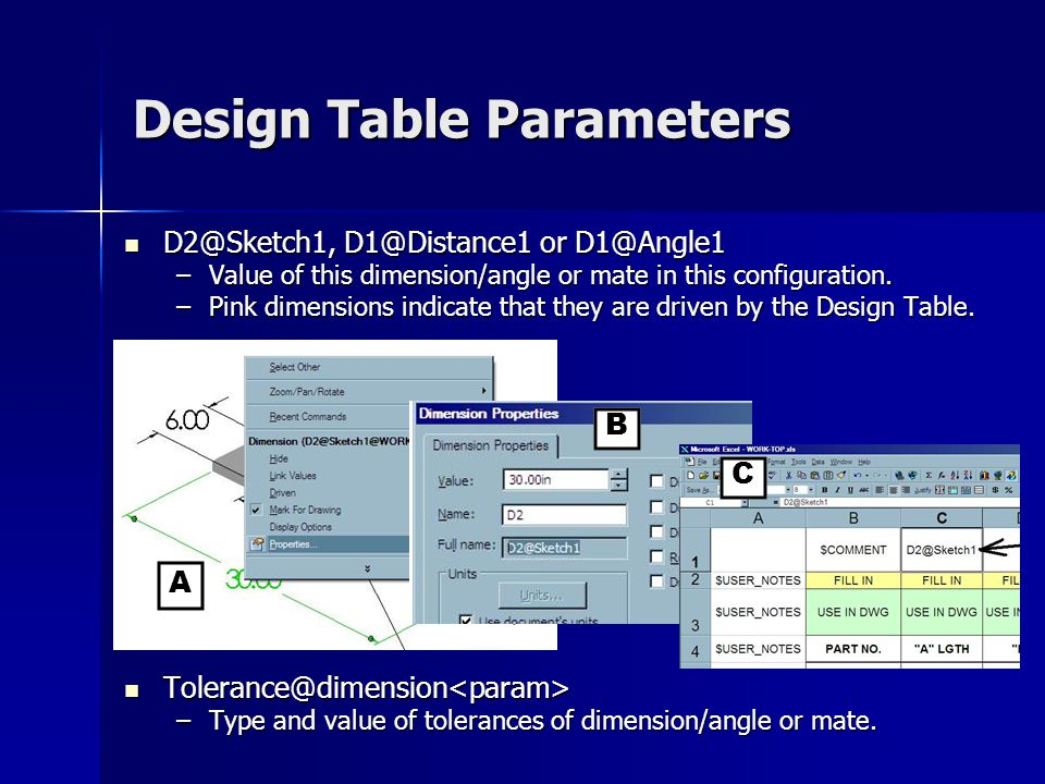 Design Table Parameters