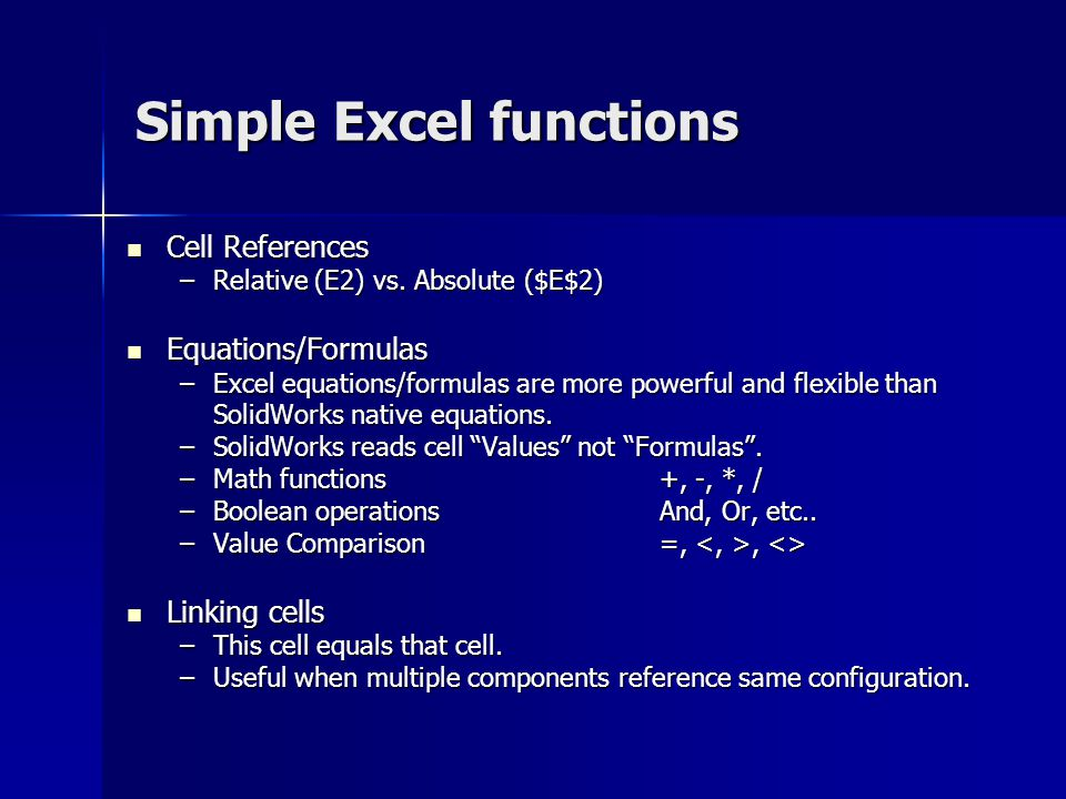 Simple Excel functions