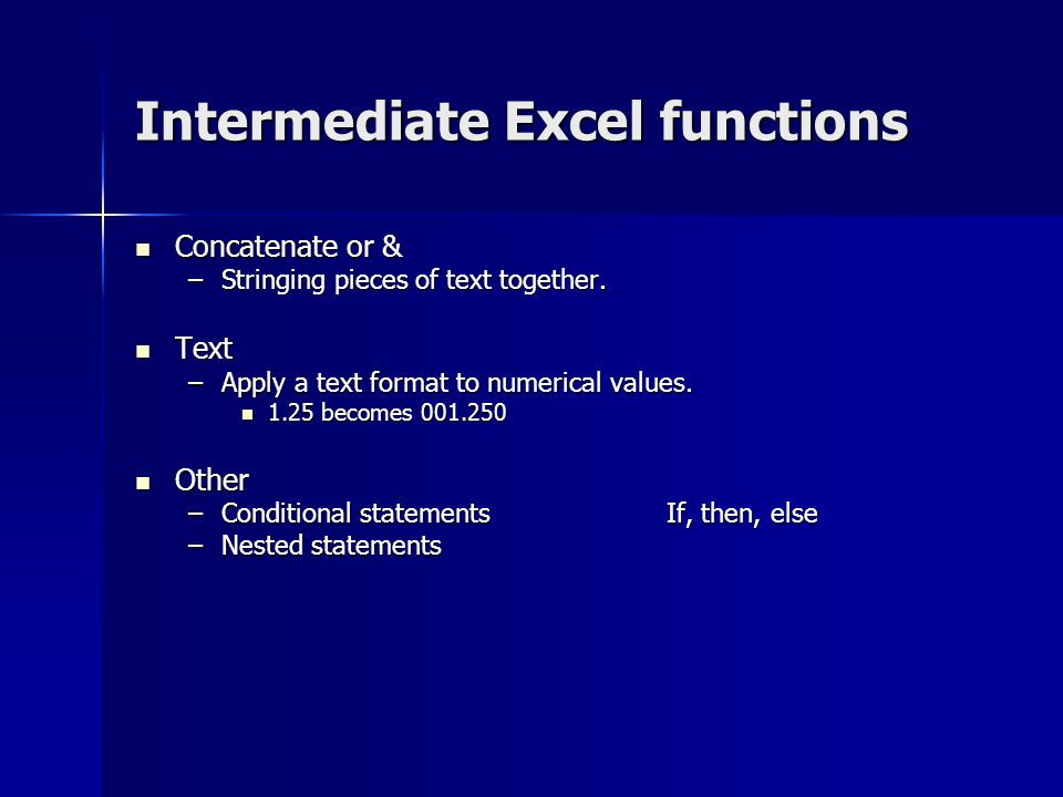 Intermediate Excel functions