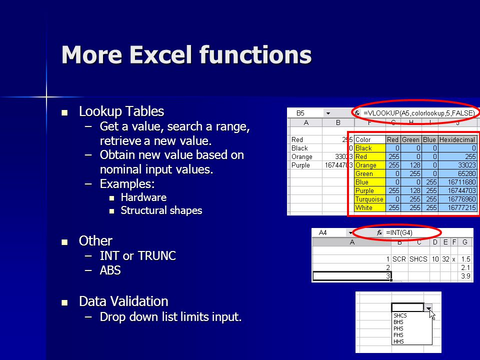 More Excel functions Lookup Tables Other Data Validation