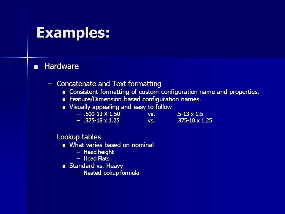 Examples: Hardware Concatenate and Text formatting Lookup tables