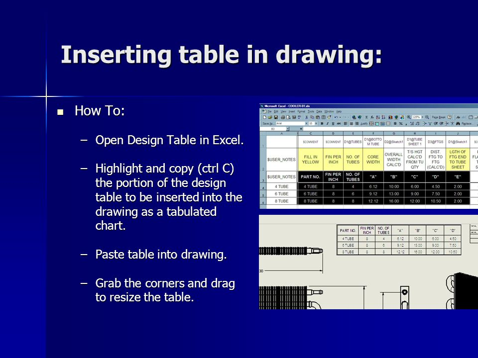 Inserting table in drawing: