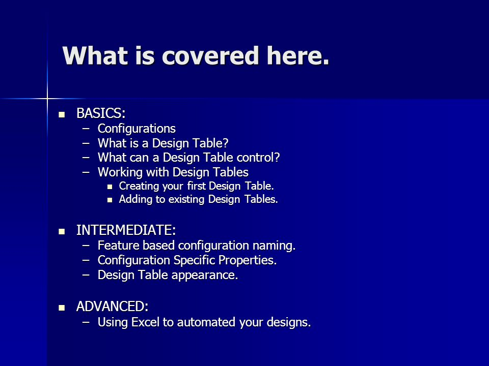 What is covered here. BASICS: INTERMEDIATE: ADVANCED: Configurations