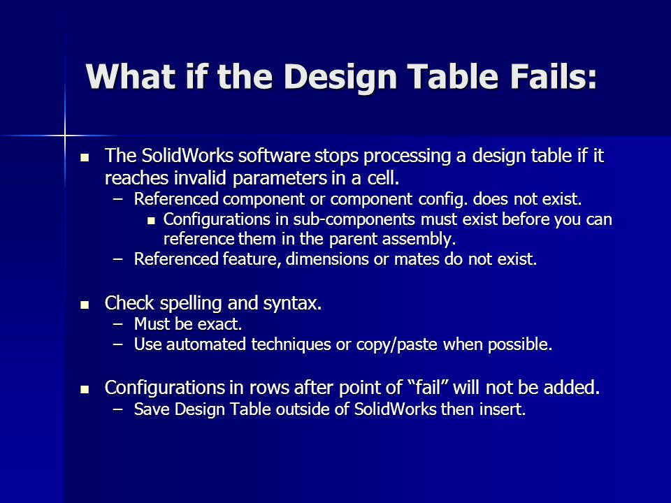 What if the Design Table Fails: