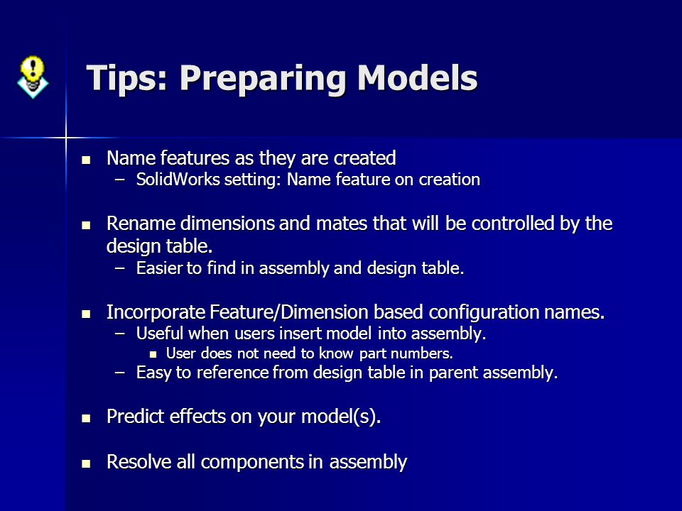 Tips: Preparing Models