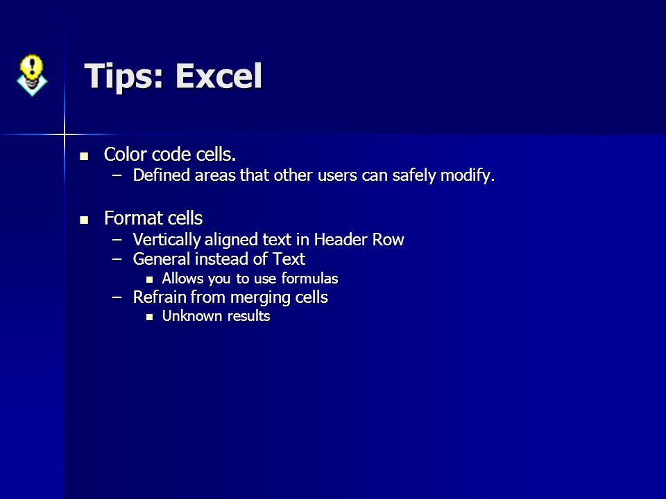 Tips: Excel Color code cells. Format cells